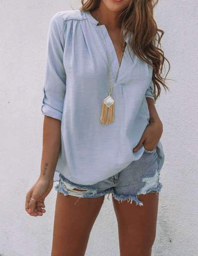 Casual Pure V neck Long sleeve Vent T-Shirts