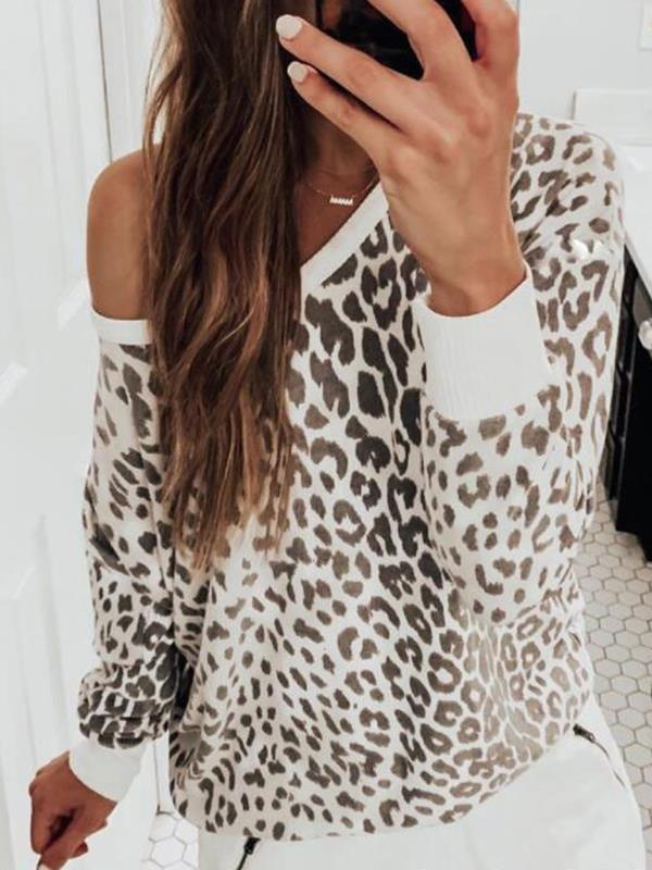 Leopard printed women round neck long sleeve knit sweaters