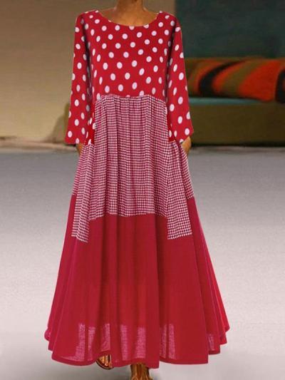 Women round neck polka dot printed long sleeve maxi dresses