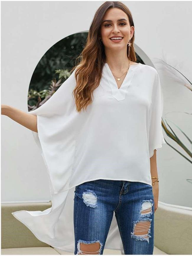 Fashion Loose Pure V neck Batwing sleeve Irregular Blouses