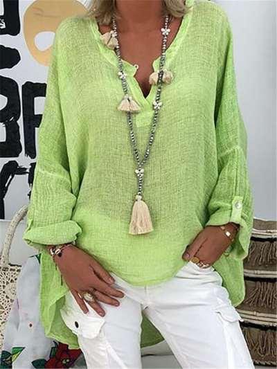 Fashion Casual Loose Pure V neck Long sleeve Irregular T-Shirts