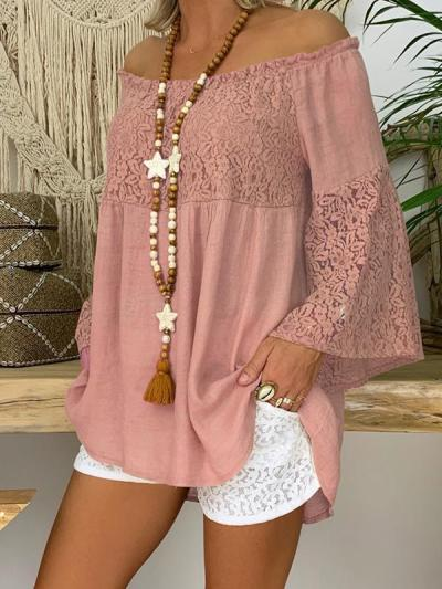 Loose lace off shoulder long sleeve patchwork T-shirts