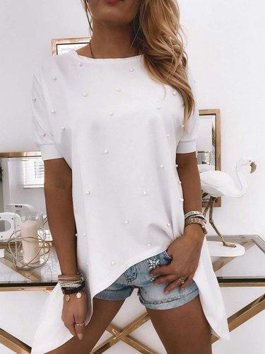 Fashion Pure Beading Round neck Short sleeve Irregular T-Shirts