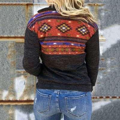 Floral Lapel Long sleeve Sweatshirts