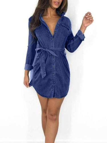 Sexy Stand collar Long sleeve Lacing Shirt Skater Dresses