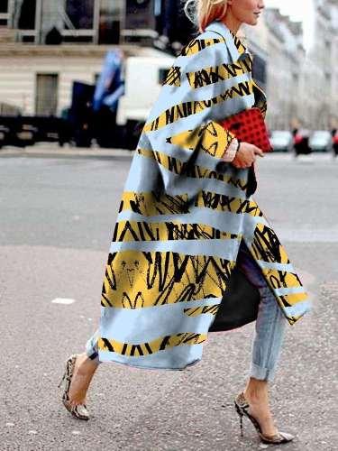 Fashion Loose Print Long Coats