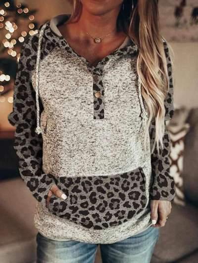 Fashion Leopard Splice Long Sleeve Hoodied