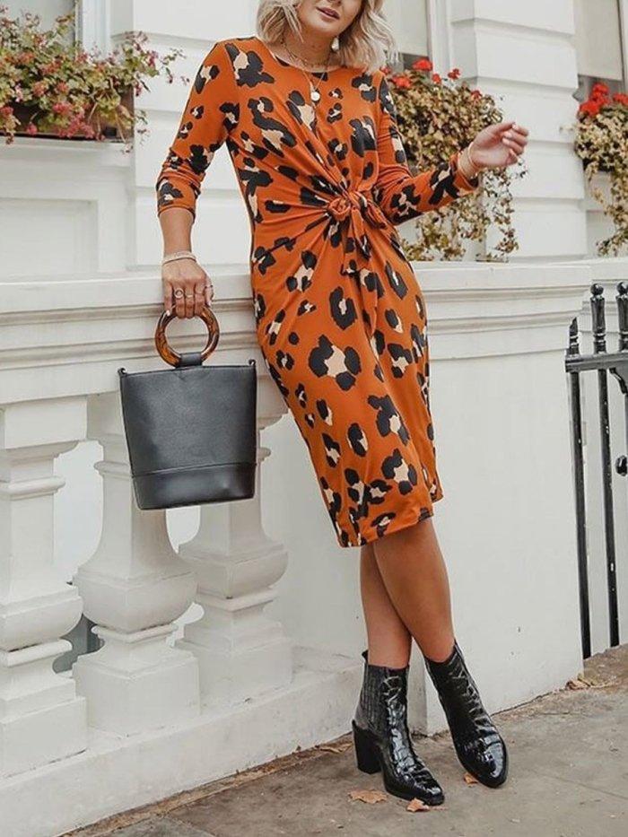 Fashion Chic Orange Woman Bodycon Dresses