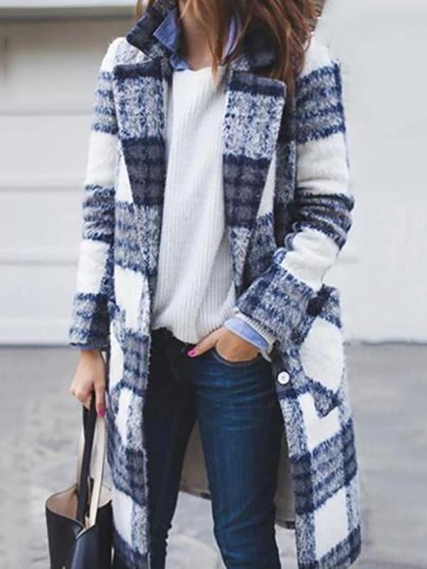 Fashion Women Shawl Collar Long Plaid Coats