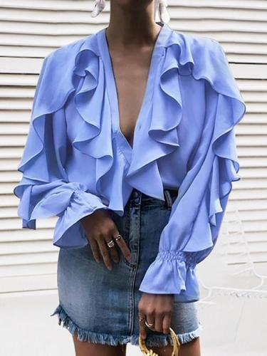 Chiffon V neck Stylish Womenlong sleeve blouses