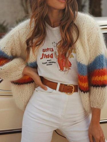 Casual Loose Print Long sleeve Knit Cardigan