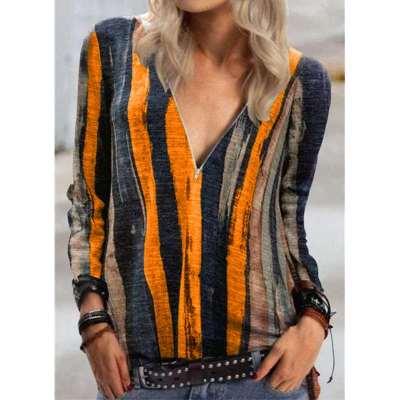 Fashion Stipe print V neck Long sleeve Zipper T-Shirts