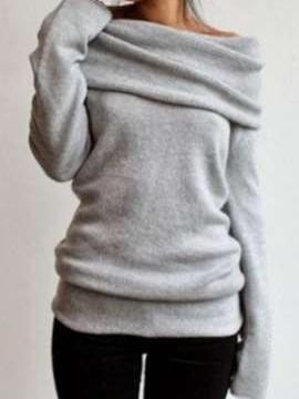 Fashion Pure Heaps collar Long sleeve Sweaters