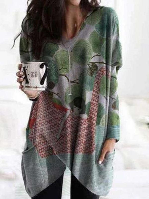 Fashion Print V neck Long sleeve Pocket Irrgular Long T-Shirts