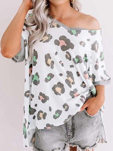 Fashion Loose Print V neck Short sleeve T-Shirts