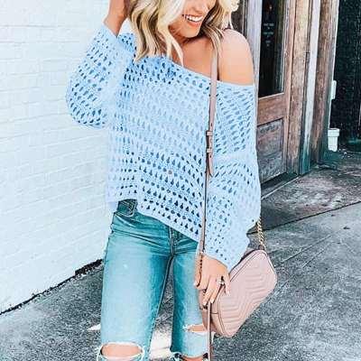 Fashion Off shoulder Hollow Knit T-Shirts