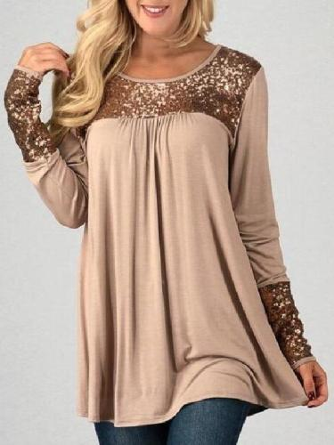 Round Neck Sequins Patchwork Long Sleeve T-Shirts