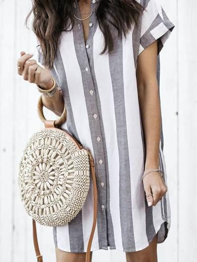 Casual Loose Women Short Sleeve Stripe Blouses