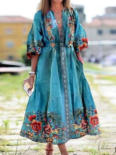 Fashion Casual Print V neck Lacing Bohemian Maxi Dresses