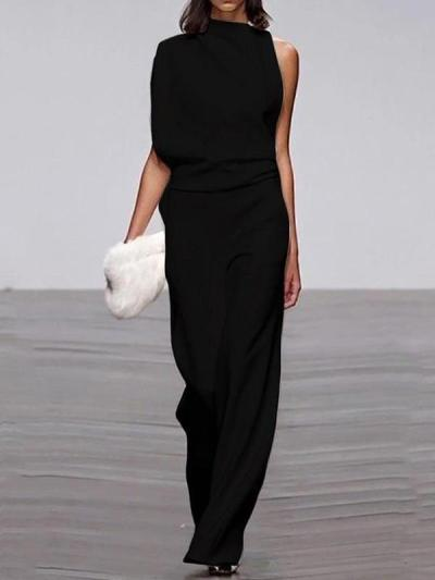 Sexy one off shoulder women long jumpsuits
