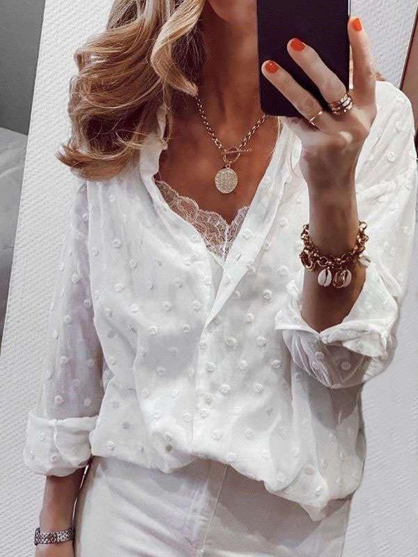 Fashion Pure Point Lapel Long sleeve Blouses