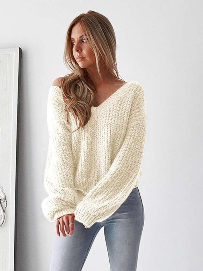 Fashion Loose Backless V neck Sweaters