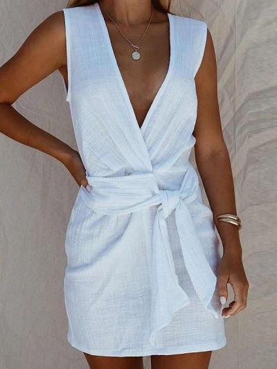 Fashion Casual Pure V neck Sleeveless Lacing Shift Dresses