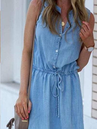 Fashion Jeans Fastener Stand collar Lacing Shift Dresses