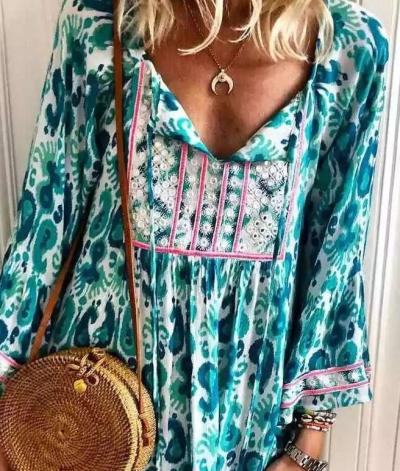 Fashion Casual Print V neck Long sleeve Shift Dresses
