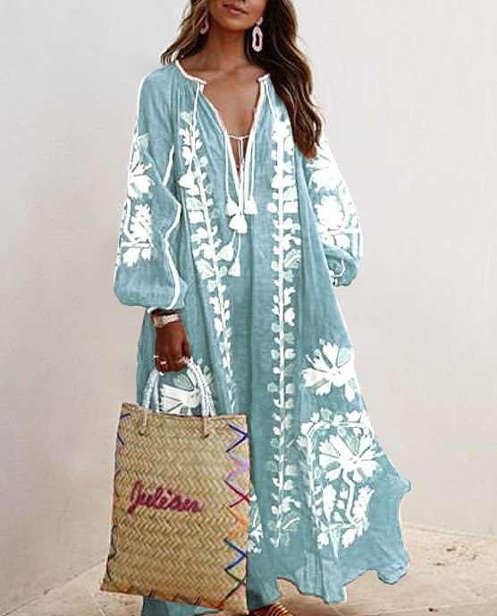 Casual Loose Print V neck Long sleeve Macrame Maxi Dresses