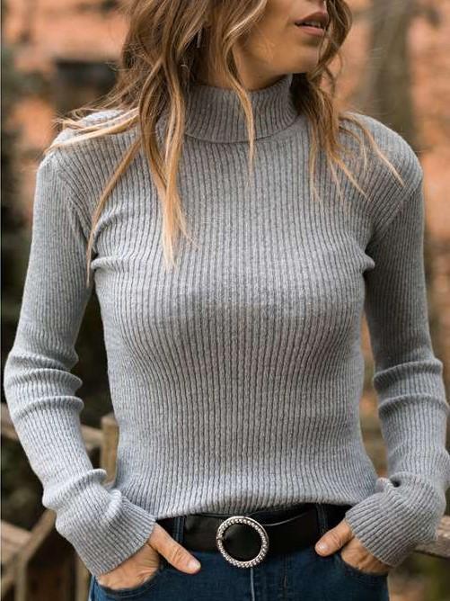 Fashion Pure High collar Long sleeve Sweaters