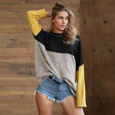 Loose Knit Gored Long sleeve Sweaters