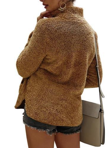Women suede fashion high neck sweatshirts