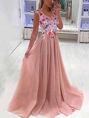 Elegant v neck sleeveless long party evening dresses