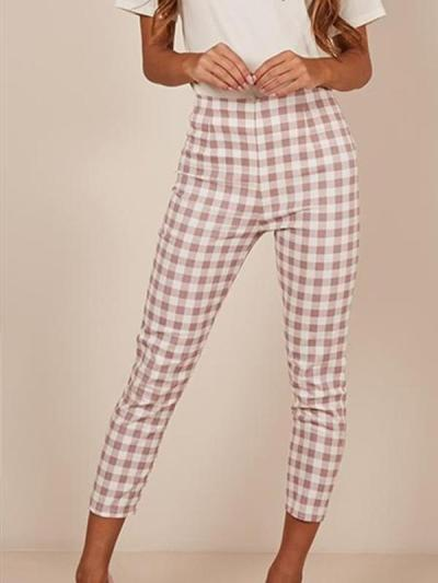 Casual plain grid fashion long pants