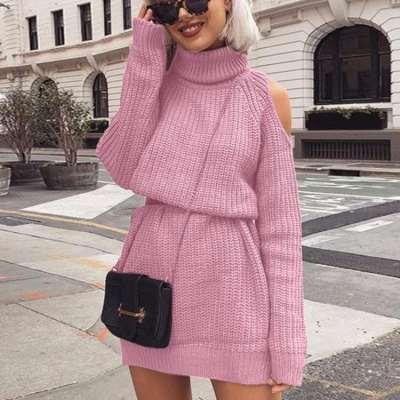 Plus Off shoulder High collar Knit Shift Dresses