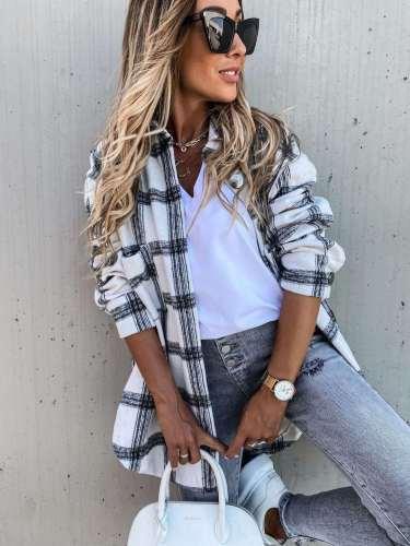 Fashion Plaid Lapel Long sleeve Long Shirt Coat