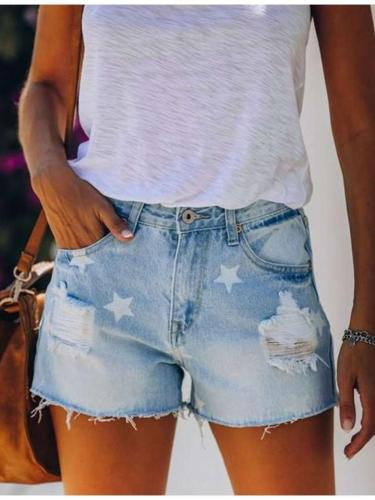 Fashion Print Hollow out Jean Short Pants