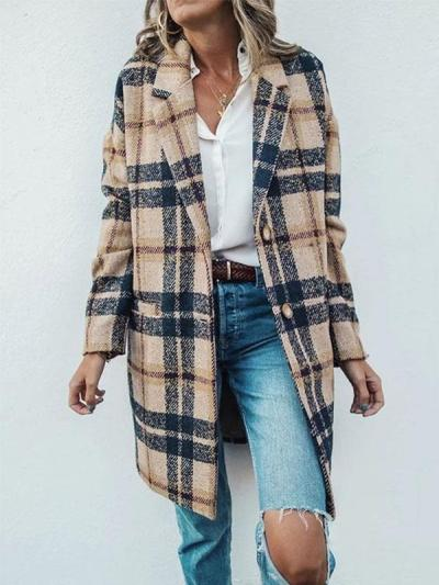 Vintage Lapel Collar Casual Check Wool Coats