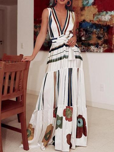 Sexy V-neck printd floor-length maxi dresses