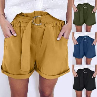 Fashion Casual Pure Belt Short Pants