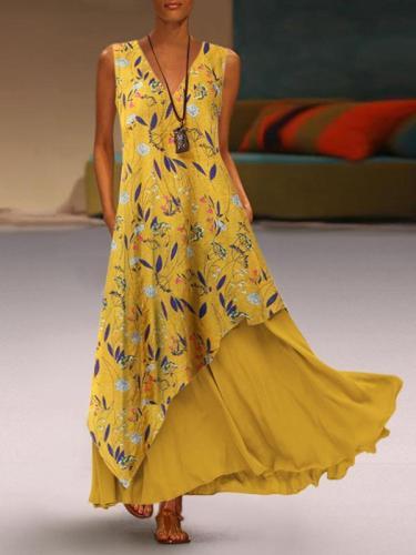 Stylish V-neck sleeveless long irregular zip maxi dresses
