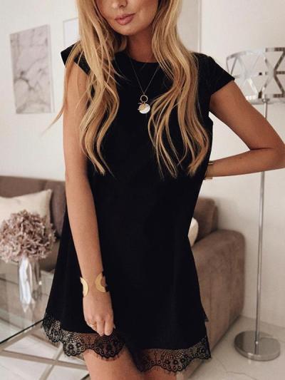 Summer short sleeve loose round collar plain lace shift dresses
