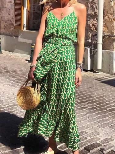 Fashion Women Green Chiffon Printed Strap Maxi Dress