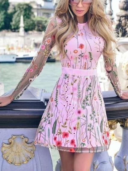 Fashion Embroidery  Grenadine Lace Skater Dresses
