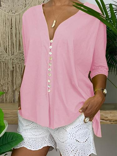 Lace v-neck button-down large size solid loose blouses