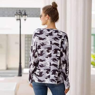 Fashion Print V neck Long sleeve T-Shirts