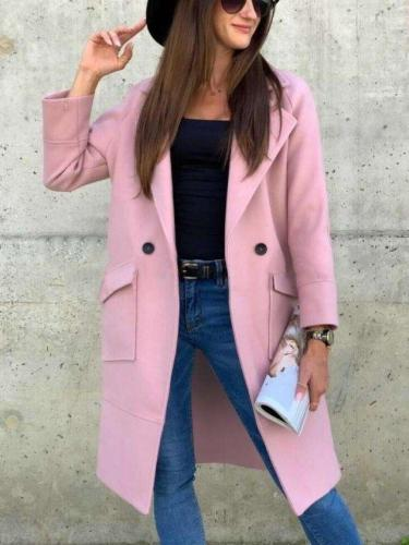 Fashion Pure Lapel Long sleeve Pocket Trench Coats