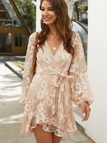 Fashion Lace Long sleeve Lacing V neck Shift Dresses