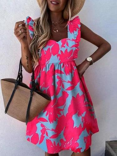 Fashion Casual Print Gored Sleeveless Square collar Falbala Shift Dresses